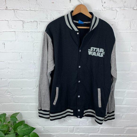 Star Wars Button Up Bomber Jackets Black/Gray SZ L